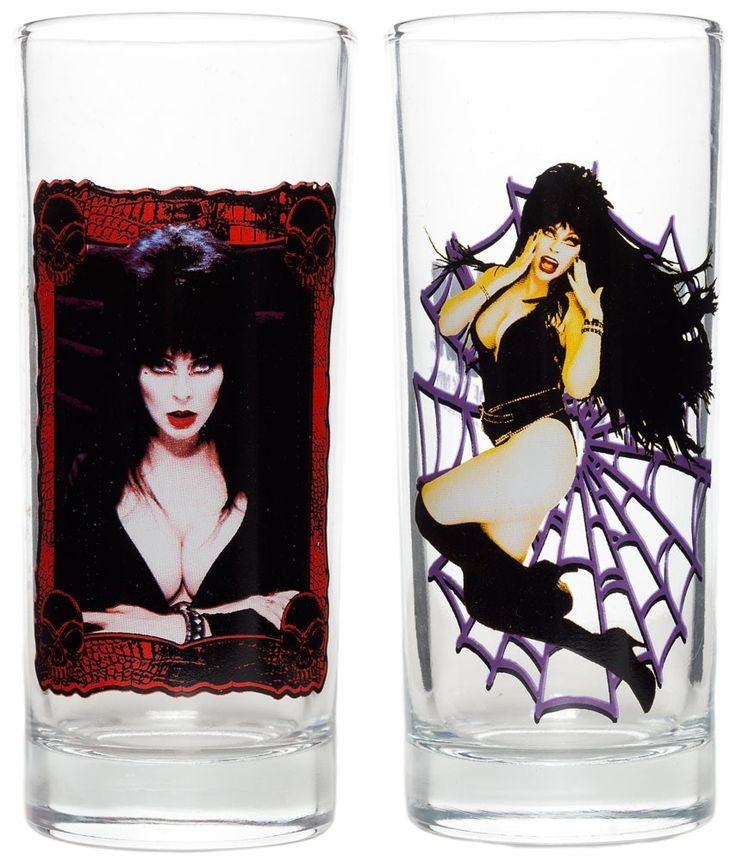 KREEPSVILLE 666 ELVIRA GLASS SET - Enjoy that voodoo brew in a glass featuring your favorite horror hostess – Elvira! Each glass in this set from Kreepsville 666 features a photo of the one and only Mistress of the Dark on the front, and her unmistakable logo on the back.