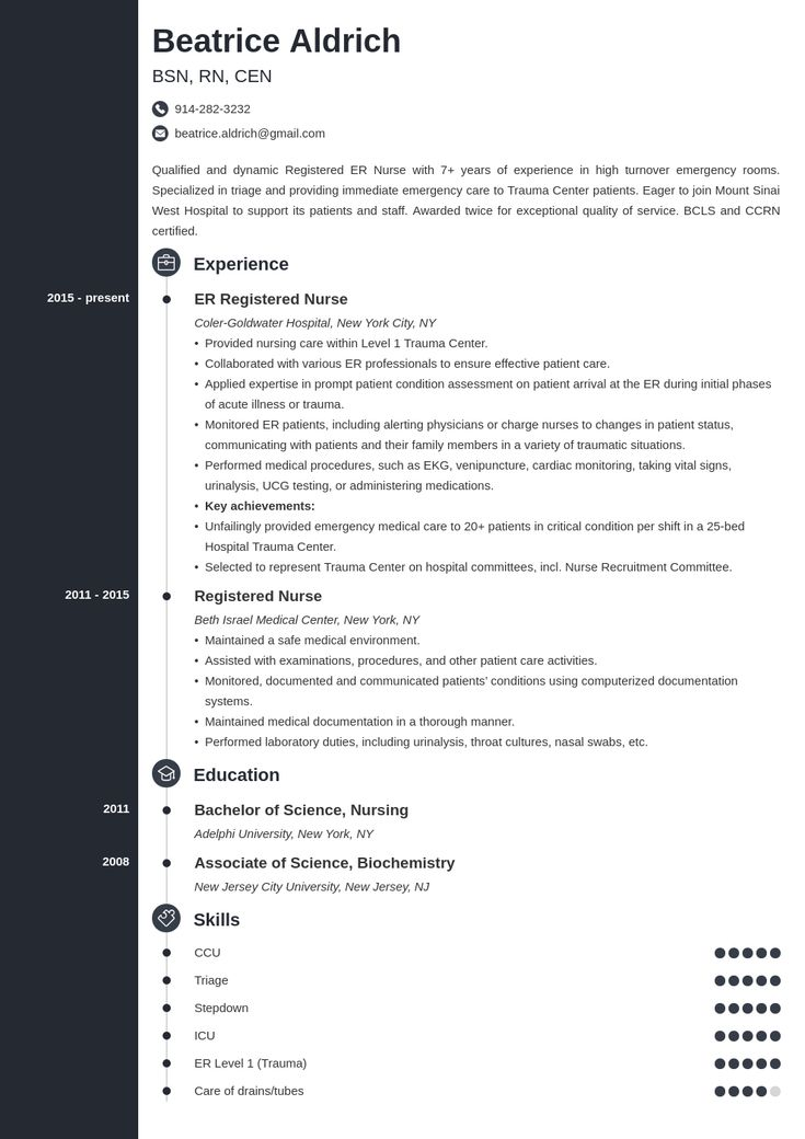 Emergency room er nurse resume sample job description