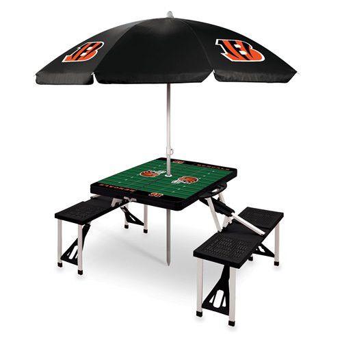 Cincinnati Bengals Portable Picnic Table & Umbrella - Black