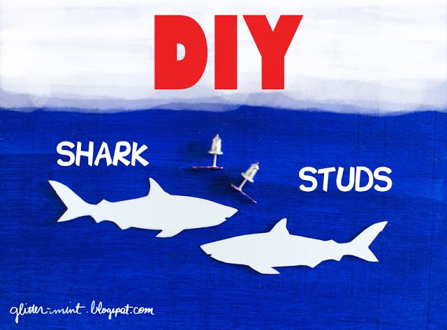 DIY shark stud earrings