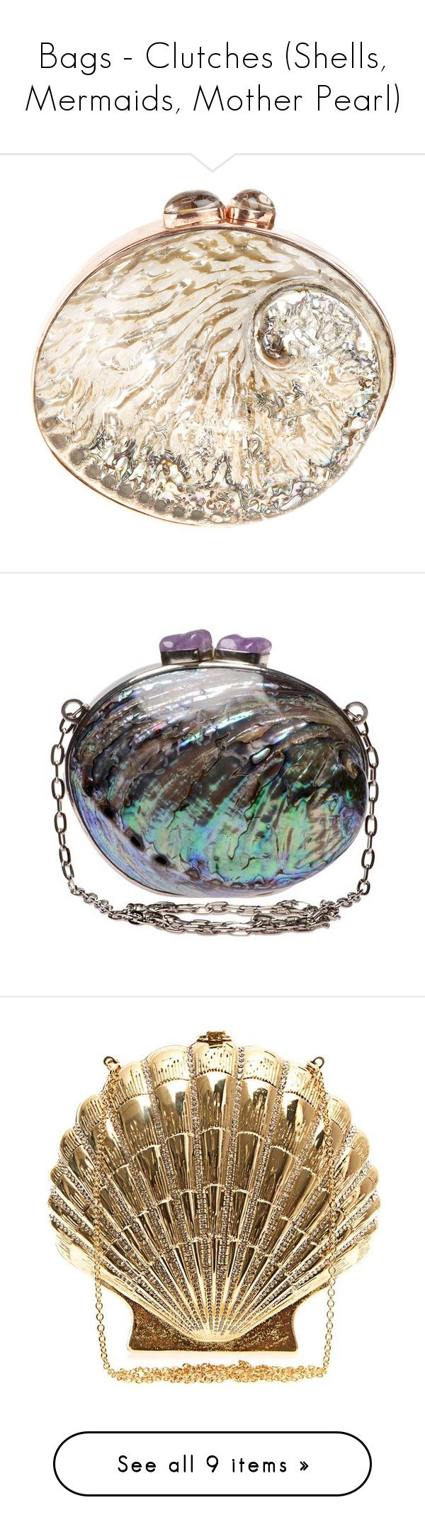 """""""Bags - Clutches (Shells, Mermaids, Mother Pearl)"""" by giovanna1995 ❤ liked on Polyvore featuring bags, handbags, clutches, purses, blue, accessories, blue handbags, clasp purse, seashell purse and wood handbag"""