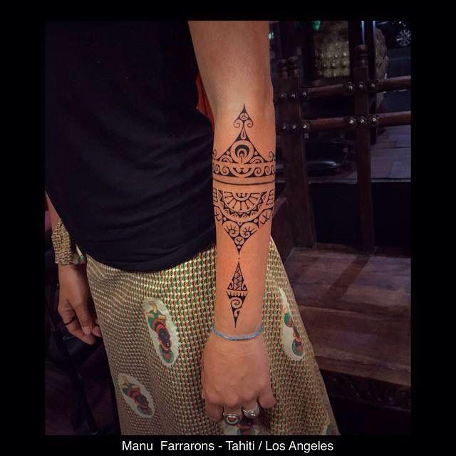 I believe Polynesian tattoo forearm band
