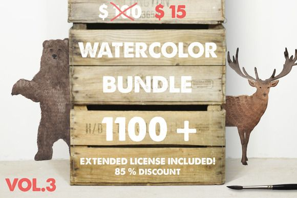 Whoa just $10 for this amazing watercolor graphics pack till 4th December 2015.1100+ watercolor bundle by Julia Dreams on Creative Market