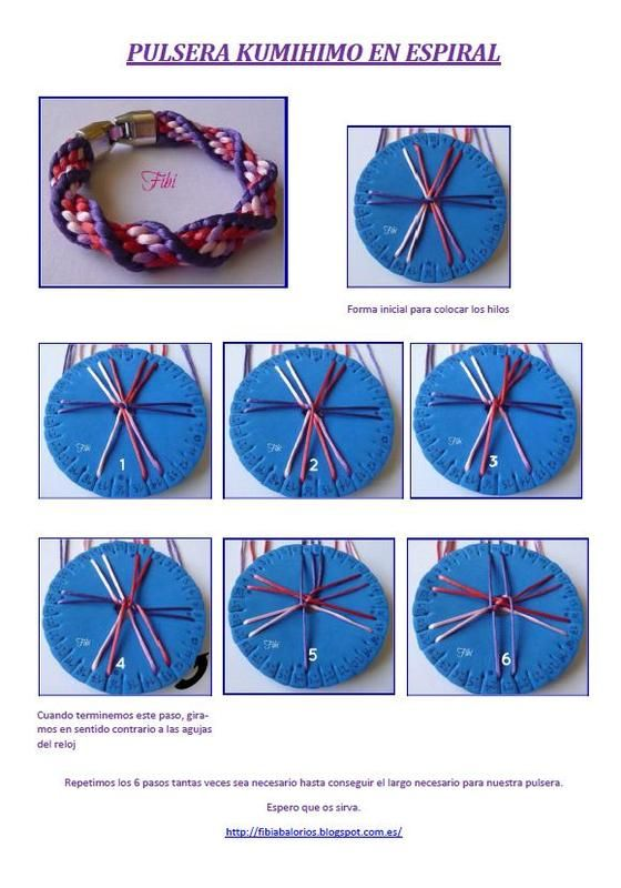 Kumihimo bracelet tutorial (very cool! I know the basic technique, would love to…