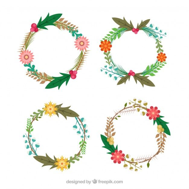 Set of retro christmas wreaths #Free #Vector