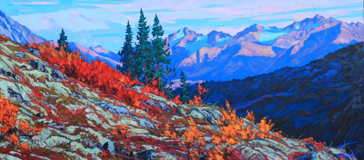 "Fresh from the easel:  "" VALHALLA CALLING "" oil on canvas 32"" x 72""   #home #art #painting #Canada #Yukon"