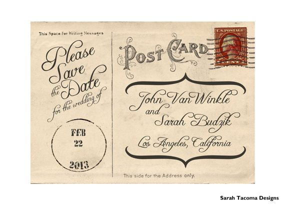Vintage Antique Postcard Engagement Save the Date by sarahtacoma, $18.00