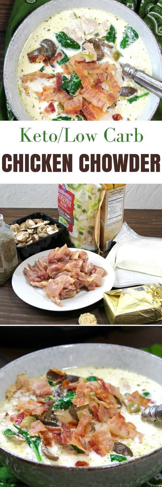Keto Instant Pot Chicken Bacon Chowder | http://5dinners1hour.com/keto-instant-pot-chicken-bacon-chowder/