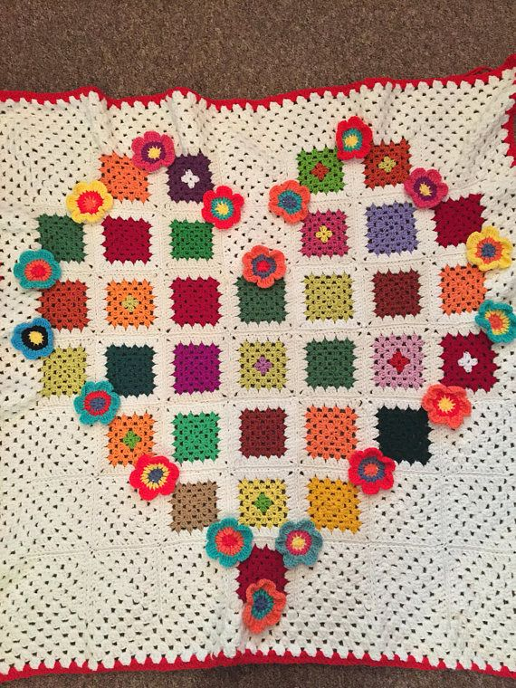 Crochet Wool Flower Granny Square Blanket Afghan Boho