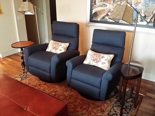 One of our recent deliveries. American Leather Comfort Recliners with custom accent pillows, a Nicols & Stone accent table and two Uttermost positionable floor lamps. #yyc #Calgary #Airdrie