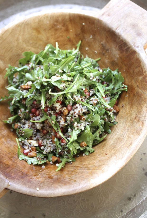 Quinoa Salad with Pomegranates, Almonds, and Arugula