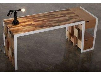 Escritorio de madera reutilizada con cajones R70 | Escritorio de madera reutilizada - Kann Design