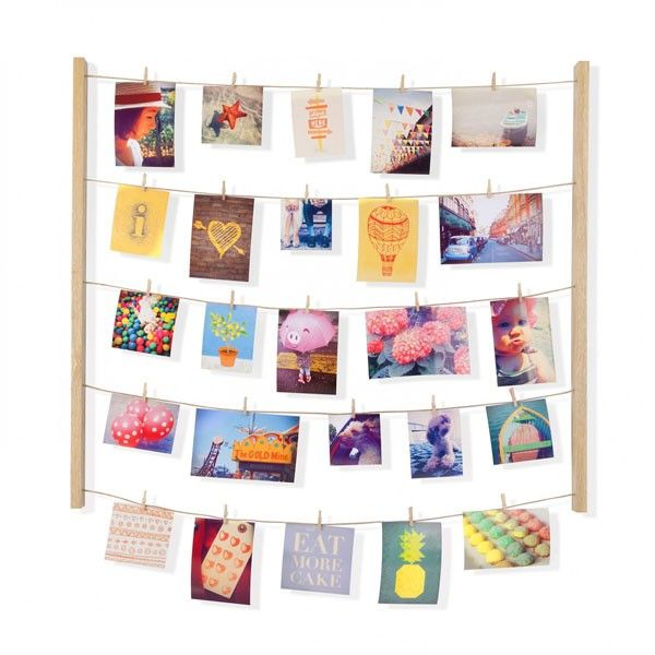 Umbra Hangit Photo Display - Natural - Create a unique and funky photo display with this simple but brilliant Umbra Hangit Photo Display in natural wood.  The display contains five rows of