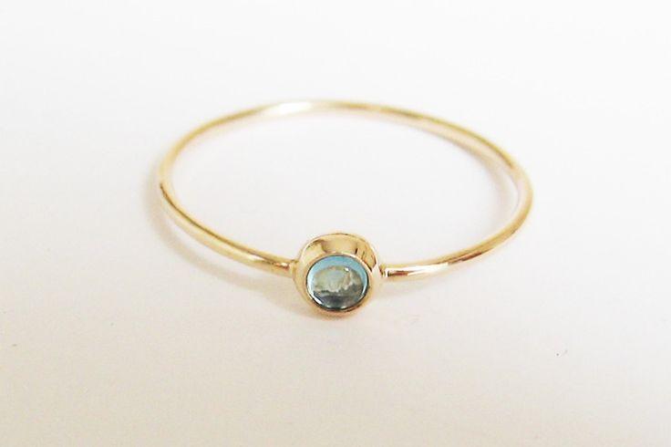 ♥♥♥ niebieski topaz 585 złoty pierścionek - arpelc - Pierścionki złote
