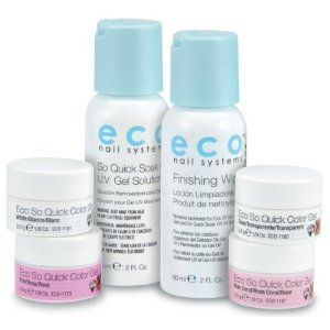 Star Nail Eco So Quick Soak Off Color UV Gel Starter Kit by Star Nail. $25.99. 1/8 oz. of each: Pink, White, Clear, Pink Coral.. 2 oz. Soak Off Solution. 2 oz. Finishing Wipe.. Contains:. Star Nail Eco So Quick Soak Off Color UV Gel Starter Kit is great for nail art, perfect for French Pink and Whites. Longer lasting manicures and pedicures. Non-yellowing.