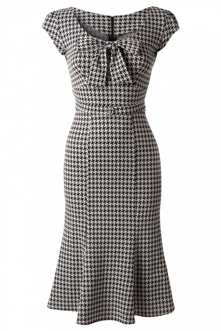 """Stop Staring! - TopVintage Exclusive ~ 60s Grande Black White Houndstooth wiggle dress."""