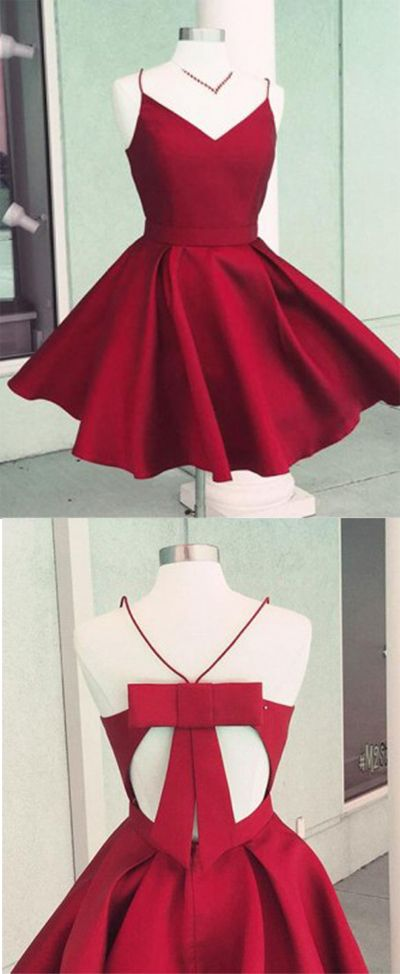 Red Prom Dress,Homecoming Dresses,Cheap Homecoming Dresses,Party Dresses for Girls,Homecoming Dance Dress,Satin Open Back A-Line Spaghetti Straps Homecoming Dress with Bowknot, SH255