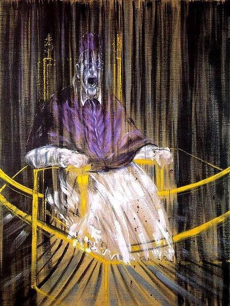 Creepy! It's a portrait by Francis Bacon of Pope Innocent X: https://en.wikipedia.org/wiki/Study_after_Velázquez%27s_Portrait_of_Pope_Innocent_X