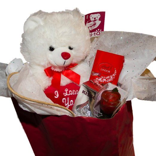 0e4debfbc5c Teddy Bear with I Love You Heart Gift Set Includes Light up Rose, Two Lindt  Milk Chocolate Truffles Pack and Hershey Kiss , Valentines …