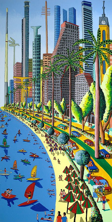 naive art painting of tel aviv city israeli painter raphael perez landscape urban paintings