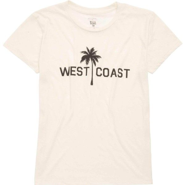 Billabong Women's West Coast Palm Tee ($25) ❤ liked on Polyvore featuring tops, t-shirts, t-shirt/prints, white cap, white boyfriend tee, graphic tees, short sleeve graphic tees, crew neck t shirt and crew-neck tee