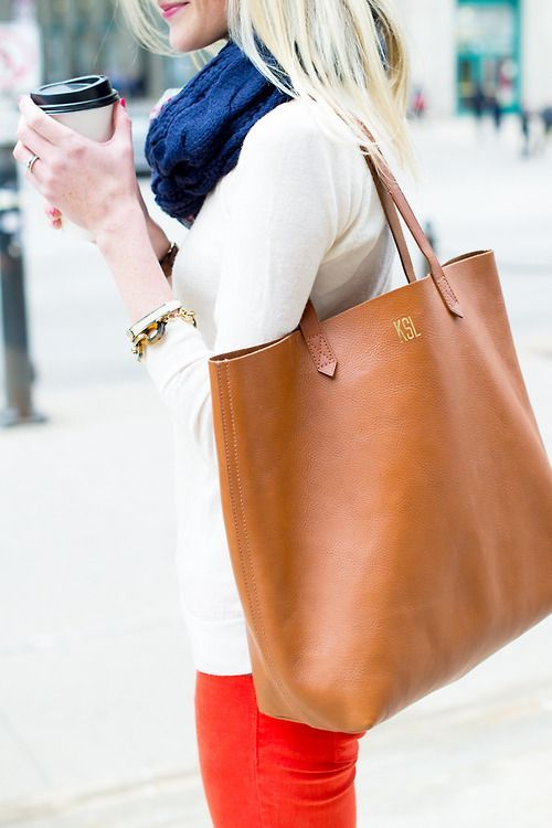 brown leather madewell tote