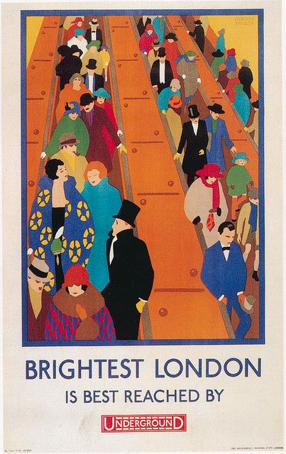 Vintage poster promoting travel by the Underground when in London