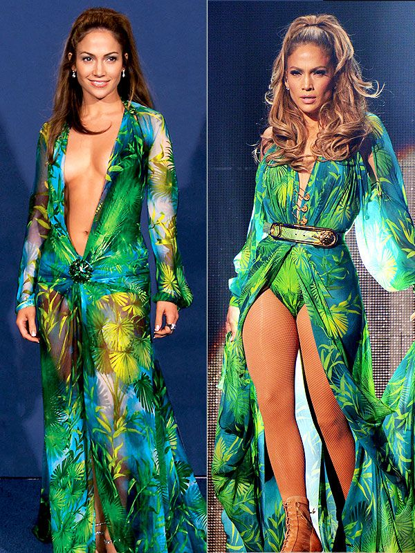 Jennifer Lopez Recreates That Versace Grammys Dress (And Proves She Can Still Perform in a Leather Garter)   People.com