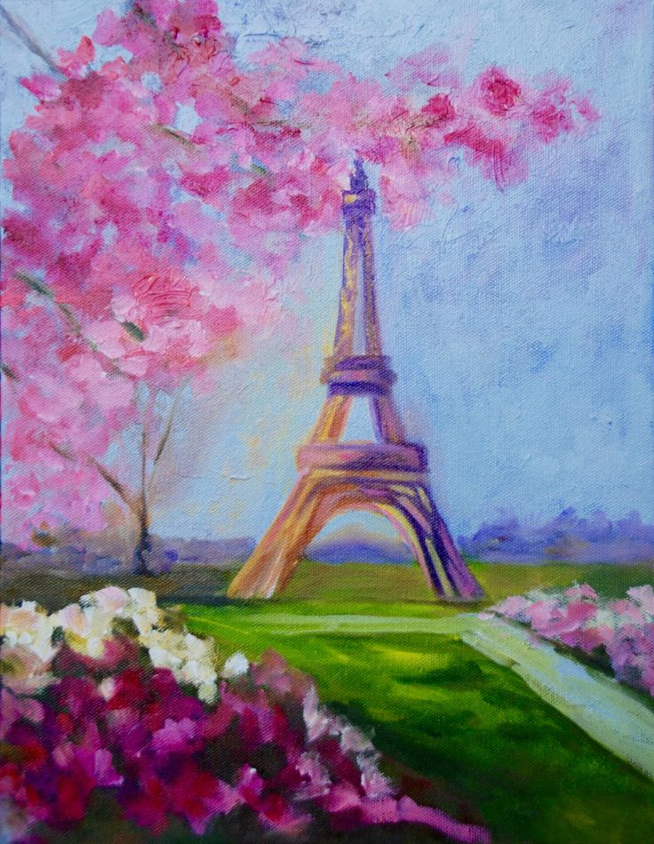 11 x 14 Modern Impressionist Original Oil Painting of The Eiffel Tower Spring Landscape by Rebecca Croft by rebeccacroftstudios on Etsy