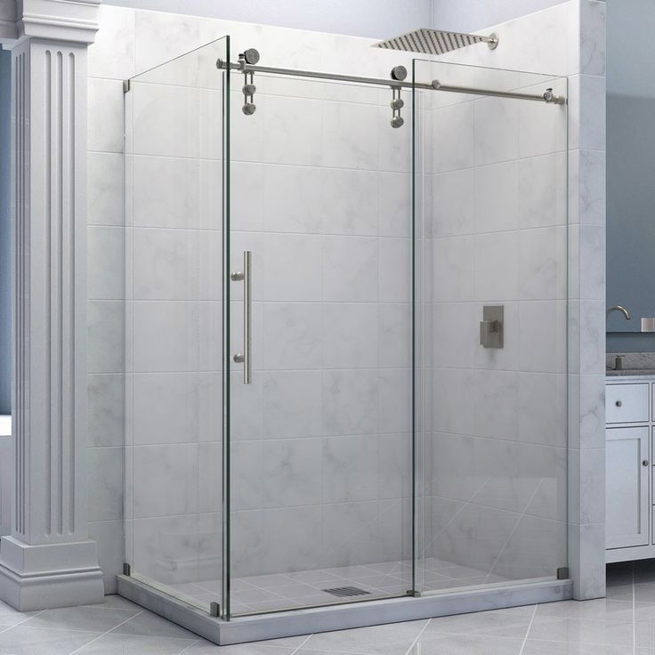 "Enigma-Z 34 1/2"" by 60 3/8"" Fully Frameless Sliding Shower Enclosure, Clear 3/8"" Glass Shower 