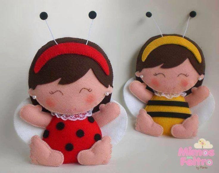 ARTE COM QUIANE - Paps,Moldes,E.V.A,Feltro,Costuras,Fofuchas 3D: molde boneca joaninha e abelhinha