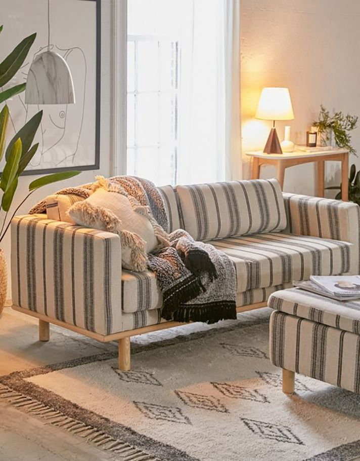 2019 Home Decor Trend Southwestern Decor Is The New Boho Striped Sofa Trending Decor Home Decor Trends #southwestern #style #living #room #furniture