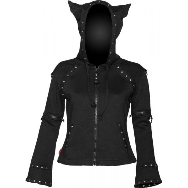 Gothic zipper jacket with horned hood, from the women's clothing collection by Queen of Darkness. With detachable sleeves.
