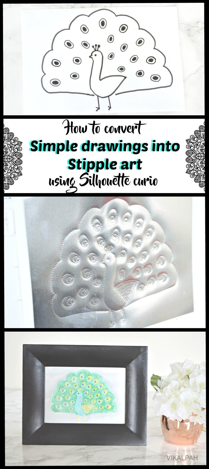 How to convert simple drawings into stipple art using Silhouette curio