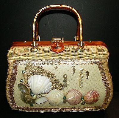 VTG Princess Charming Atlas Wicker Natural Seashells Seahorse Star Fish Handbag
