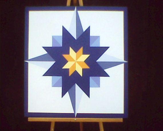 2' x 2' Barn Quilt  Star pattern by BaileyvilleBarnArt on Etsy