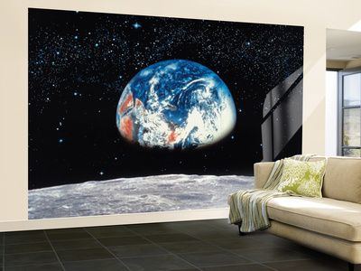 earth rise view from the moon wall mural