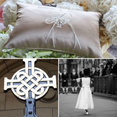 CELTIC CROSS Image of the cross at the chapel's gate provided the inspiration for this bespoke wedding/ring cushion.