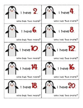 "Here's an ""I have, who has?"" game that focuses on skip counting by 2."