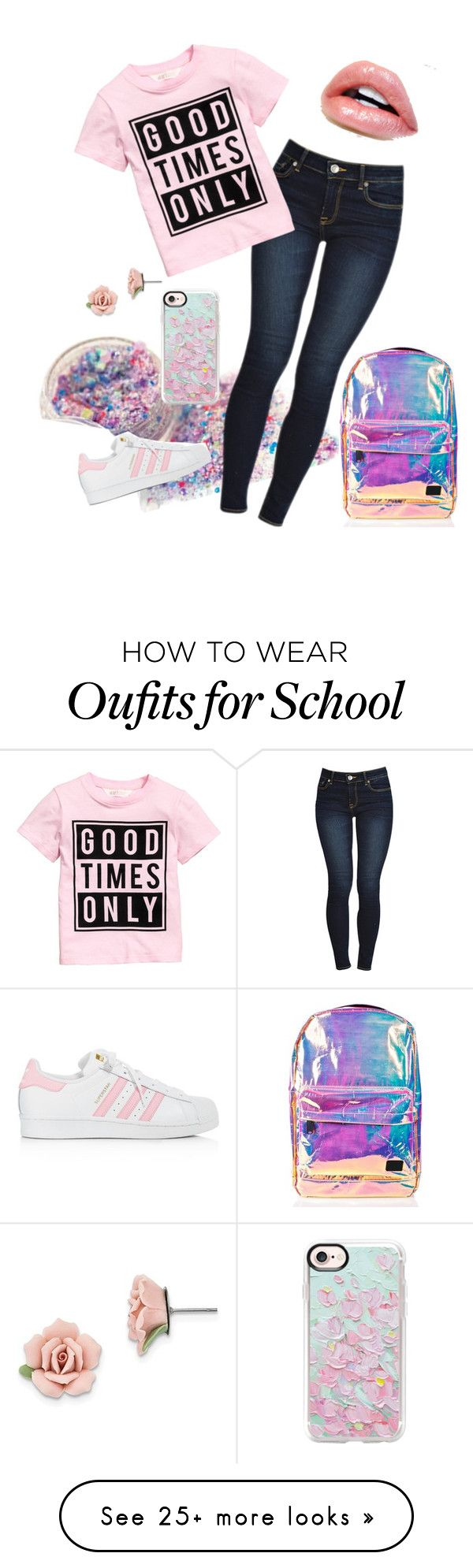 """""""School day"""" by fashionstudio101 on Polyvore featuring Spiral, adidas, Casetify and 1928"""