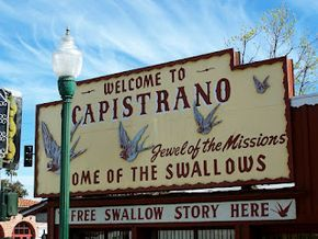 San Juan Capistrano, home of the swallows.  Every spring thousands of migrating swallows return to San Juan Capistrano from South America.  Their annual arrival is celebrated with a festival held on March 19, St. Joseph's day.