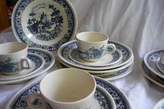 RARE Gorgeous Lozapenco Made in Chile Set, Blue, White Dinnerware. Ironstone China Blue White Ironstone, French Farmhouse, Country French
