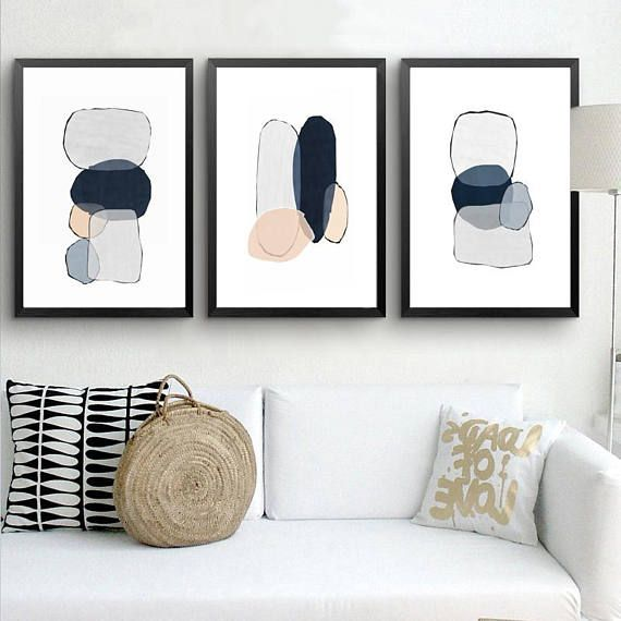 Abstract Set Of 3 Downloadable Prints Blue Grey Art 3 Piece Etsy Grey Wall Art Blue Wall Art Living Room Art
