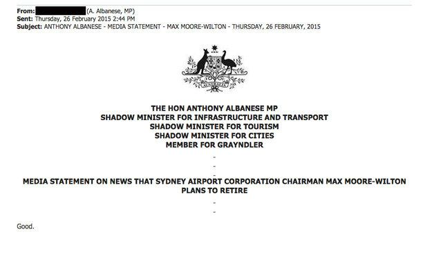 So when Mr Wilton-Moore announced his retirement today, Mr Albanese countered with this verbose press release.