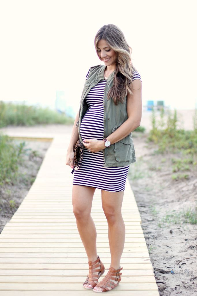 Maternity style, Striped Dress, Leopard Clutch, Cargo Vest