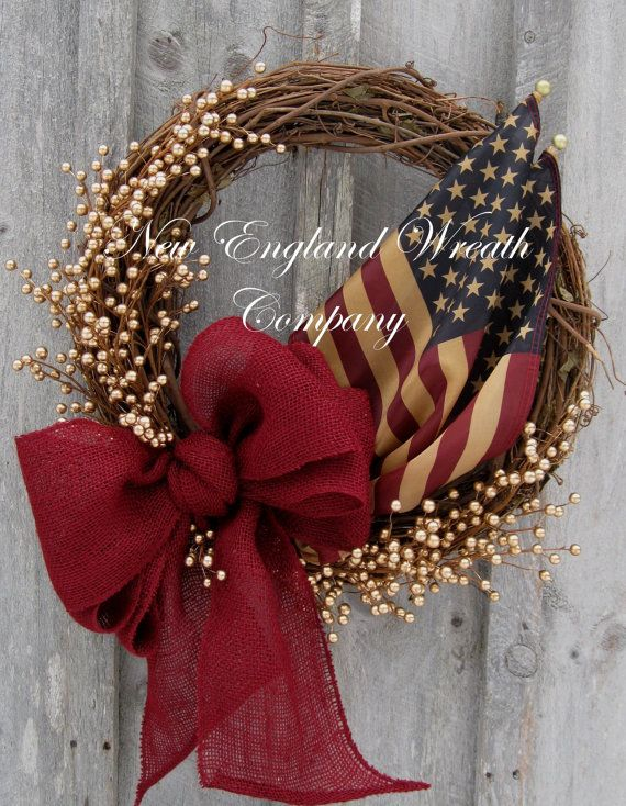 americana wreath patriotic wreath memorial day fourth of july wreath primitive americana military wreath tea stained flag wreath
