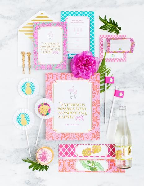 Lilly Baby Shower Party Stationery Set