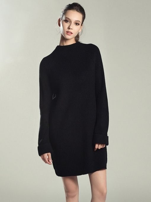 53319287b5d Vinfemass Solid Color Knitted Loose Sweater Dress in 2019 ...