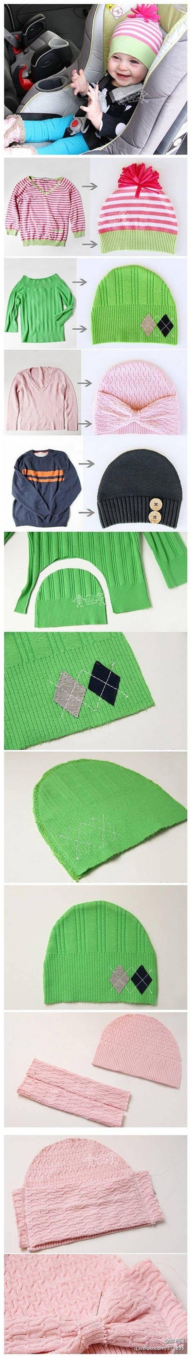 bonnets pour enfants à partir de vieux pulls