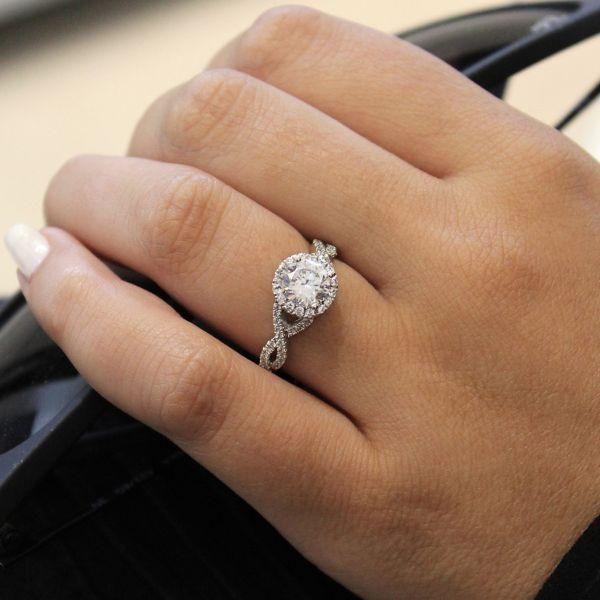 14k White Gold Crossover Halo Diamond Engagement Ring Wedding Rings Unique Round Halo Engagement Rings Diamond Engagement Rings